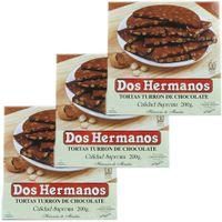 """3x Dos Hermanos Tortas """"Schokoladen-Mandel Nougat Rund"""", 200g"""