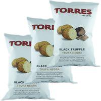 "3x Torres Selecta Trufa Negra Premium Kartoffelchips ""mit Schwarzem Trüffel"", 125g"
