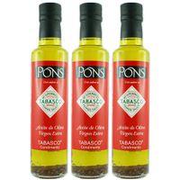 """3x Pons Olivenöl Extra Vergine mit den Gewürzen von """"TABASCO"""" Chili Olivenöl, 250 ml"""