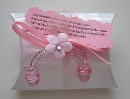 15x Gastgeschenk Kartonage Taufe Feste Schnuller Tischdekoration rosa