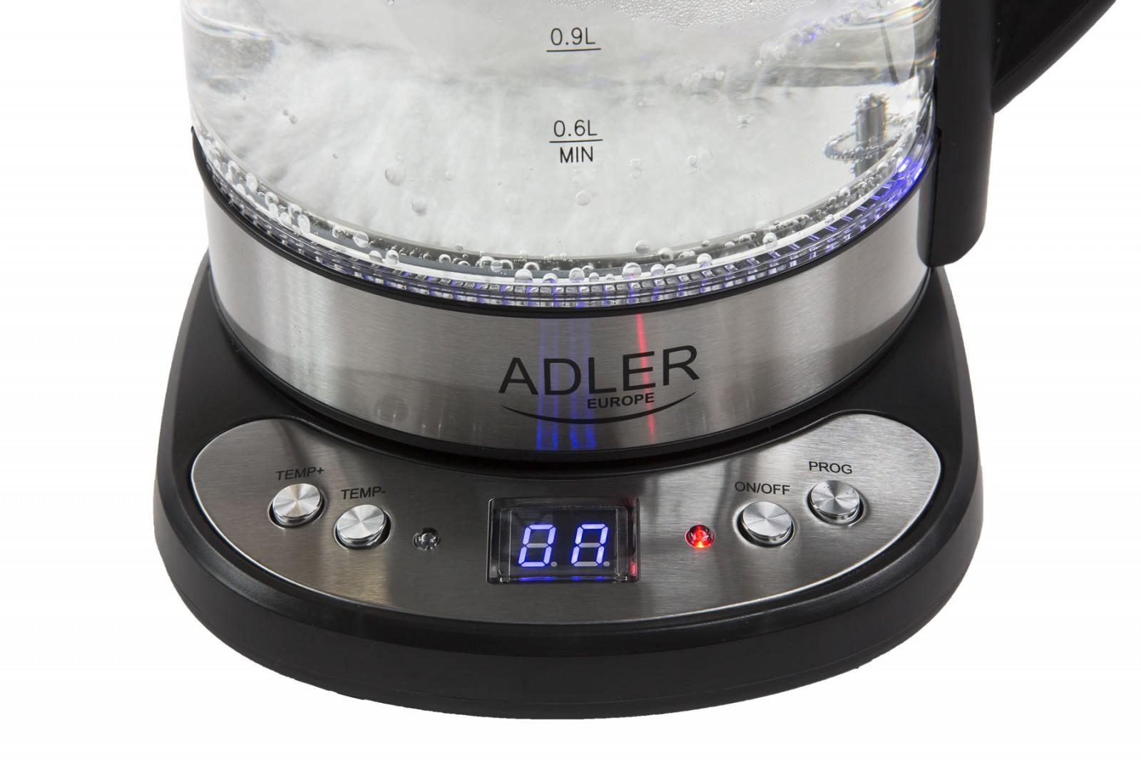 Glas-Wasserkocher mit Temperatureinstellung Adler AD1247 – Bild 2