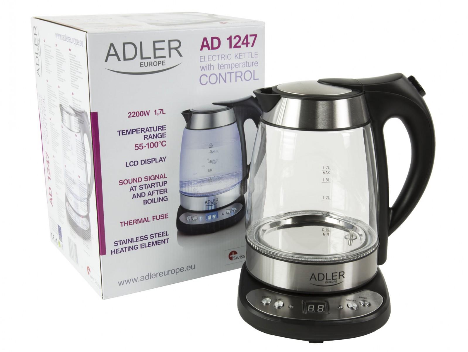 Glas-Wasserkocher mit Temperatureinstellung Adler AD1247 – Bild 3