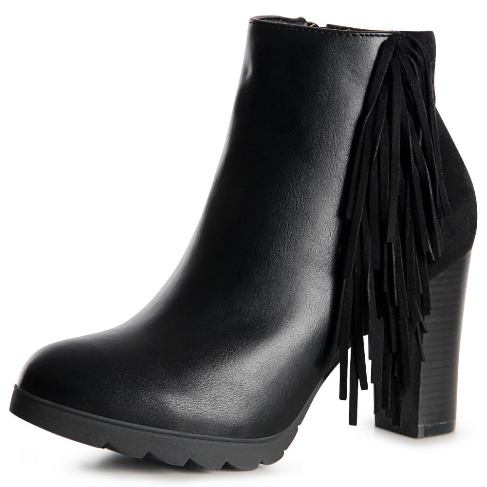 damen stiefeletten plateau ankle boots booties fransen ebay. Black Bedroom Furniture Sets. Home Design Ideas