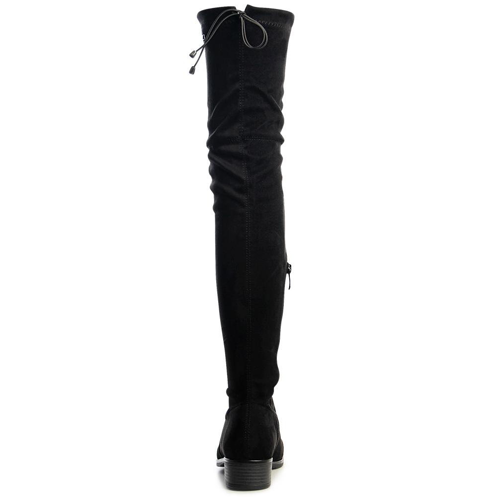 damen velours overknees stiefel overknee plateau boots schwarz 37 ebay. Black Bedroom Furniture Sets. Home Design Ideas