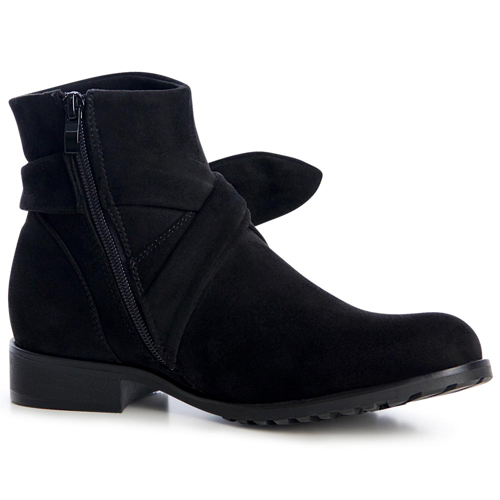 damen stiefeletten ankle boots velours schleife ebay. Black Bedroom Furniture Sets. Home Design Ideas
