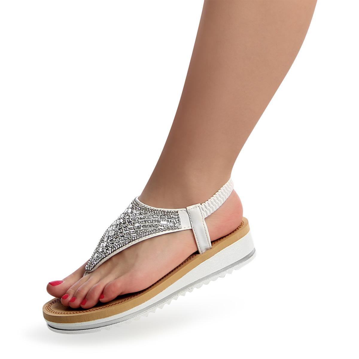 Damenschuhe Glitzer Sandalen Zehentrenner Sandaletten