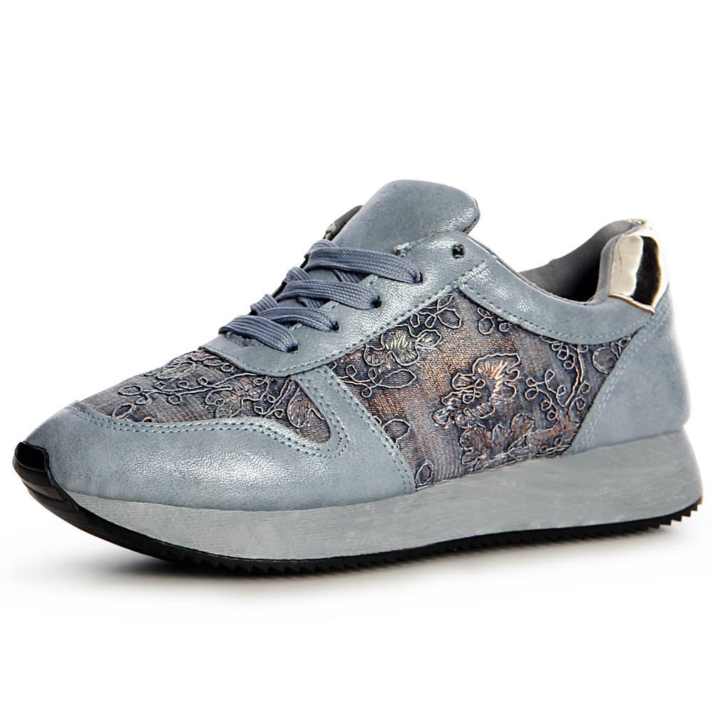 Damen Plateau Sneaker Turnschuhe Glitzer Runners Sportschuhe Blogger Style