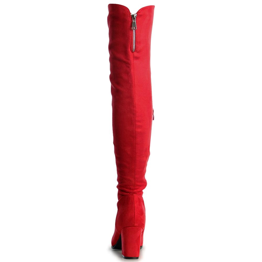 1096168f702742 Damenschuhe Velours Overknee Stiefel Basic Boots Overknees ...