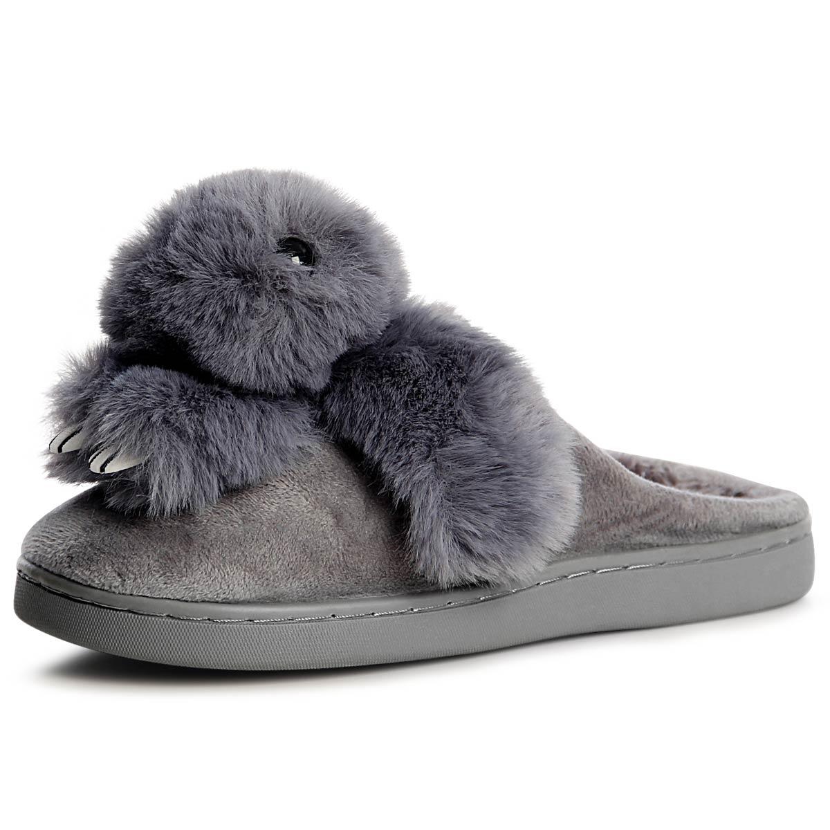 8bd55882486cb6 Damen Plateau Pantoffeln Hausschuhe Pantoletten Slipper Loafer Bunny ...