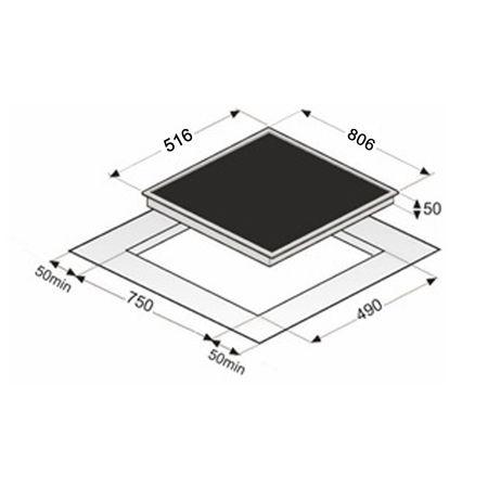 EKI8050/6R Flex- Induktions-Kochfeld, 80 cm, Edelstahlrahmen – Bild 2