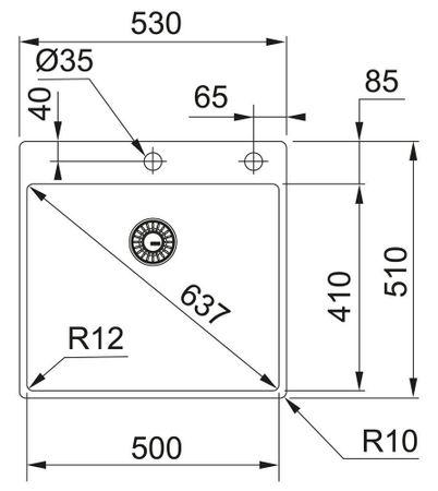 Franke BXX 210-50 530x510mm, 3 1/2', Integral, mit Ablaufventil, mit Armaturenbank, ohne Tropfteil, gebuerstet – Bild 2