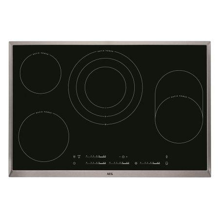AEG HKC85487XB E-E.Mulde Kochfeld autark- 80 cm, RapidPower Kochzonen, Zweikreis, Dreikreis, Bräterzone, Direct Control, Edelstahlrahmen  – Bild 1