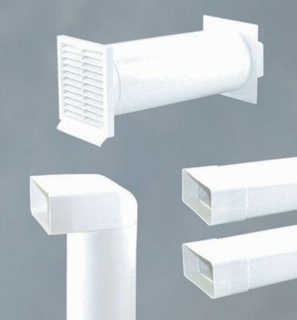 Abluftset Mauerkasten 125 mm mit Rückstauklappe und Rechteckanschluss, 2m Abluftrohr Flachkanal und 1x Bogen rund 50 cm zu rechteckig