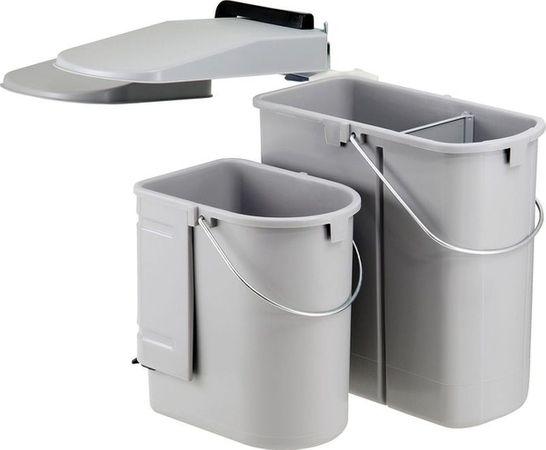 Ökontainer Junior für Schwenktür ab 50cm Schranktür grau Gestell silber 29 Liter = 19/10 Liter