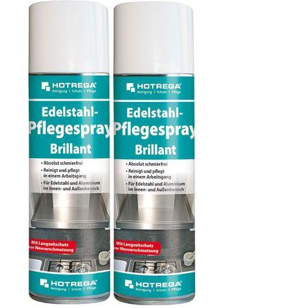 2 original HOTREGA Edelstahl-Pfelgespray H130930 Brillant reinigen und pflegen Spraydose 300 ml H 130 930