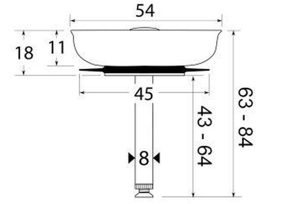 Edelstahl Siebkörbchen für Spülen-Ablauf Ø54mm, ( 1 1/2 Zoll ) mit Excenterbedieng, für Teka Spülen, Hubstange Ø8mm, Gesamtlänge 60mm bis 84mm einstellbar – Bild 2