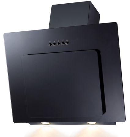 Dunstabzugshaube mit Randabsaugung 9039X, 60 cm, Glas schwarz, Drucktasten, LED Beleuchtung – Bild 1