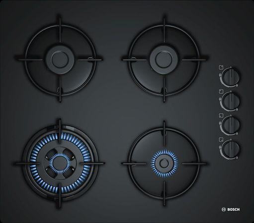 Bosch Einbaukochfeld POH6B6B10 - 60 cm breit, Gas-Kochfeld auf Glaskeramik mit 4 Brennern und elektrischer Zündung und Überlaufschutz - Schaltknebel rechts – Bild 1