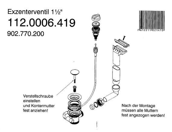 Franke Ablaufventil 1,5 Zoll Drehexcenter-Ventil mit Überlauf 112.0006.419 - 1 1/4 Twist – Bild 2
