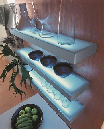 3er-Set LED Wandregal beleuchtet - Glasbodenleuchte Edelstahloptik 90cm, neutralweiß, mit 2m Kabel und Schalter – Bild 2