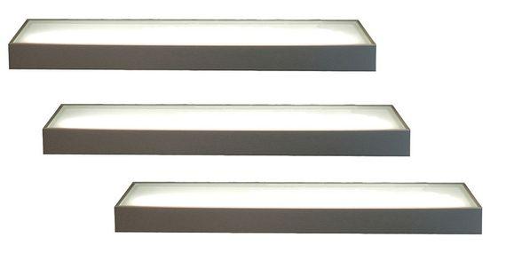 3er-Set LED Wandregal beleuchtet - Glasbodenleuchte Edelstahloptik 90cm, neutralweiß, mit 2m Kabel und Schalter – Bild 1