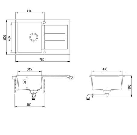 Granitspüle Victory W780.20 schwarz 78x50cm Küchenspüle Einbauspüle ab 45er Schrank – Bild 2