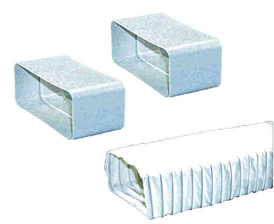 Set für 150-er Abluft-System rechteckig flach - 2 Verbinder und 1 flexibler Abluftschlauch für Dunstabzugshauben  – Bild 1