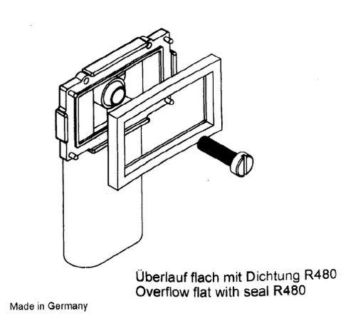 Keenberk Ablauf-Set komplett für rechteckigen Überlauf im Küchenspülen-Becken mit Kugelgelenk und 1 Zoll Anschluss an Ventilablauf / Siphon – Bild 6