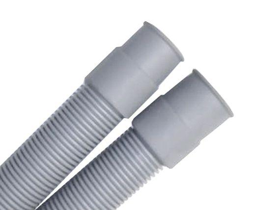 3,5m Ablaufschlauch für Waschmaschine oder Geschirrspüler, grau , inkl. Bügel und Schlauchschellen - 2 gerade Tüllen gesteckt - beidseitig Muffe 19mm – Bild 2
