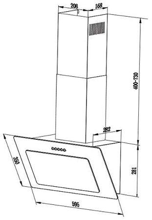 PKM Dunstabzugshaube S22-60BBPY Glas schwarz Kopffreihaube LED 60cm Schräghaube – Bild 4