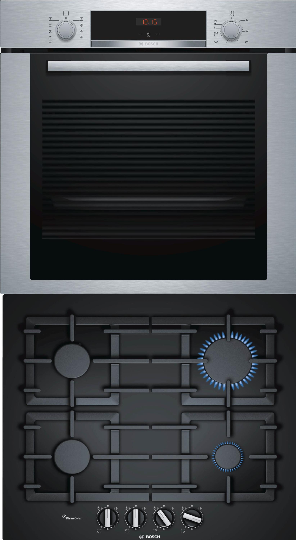 bosch herdset autark backofen set hba3140s0 mit gas. Black Bedroom Furniture Sets. Home Design Ideas