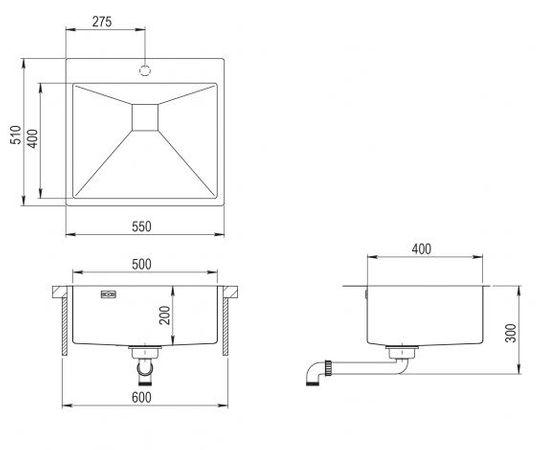 Einbauspüle Aira 2 Edelstahl 60cm – Bild 2