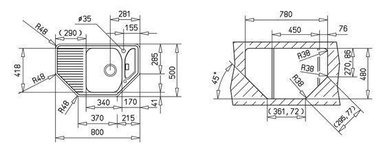 Teka Granitspüle Texina 45 E-TG Carbon Granit-Spüle Eckspüle schwarz – Bild 2