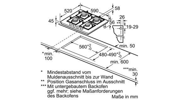 Bosch Herdset Autark Gasherd Einbau Backofen Heißluft + Gas Kochfeld auf Glas 60cm – Bild 7
