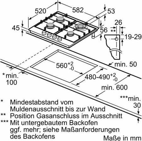 Siemens Gas-Kochfeld EC6A5HB90 Kochstelle Kochmulde iQ500 Edelstahl 60cm – Bild 3