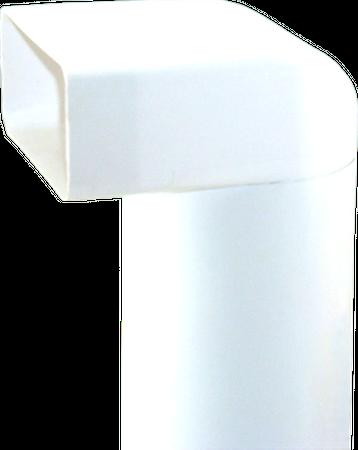 150er Abluft-System Umlenkstück mit Rundrohr 35cm auf Flachkanal Vierkantrohr Abluftrohr