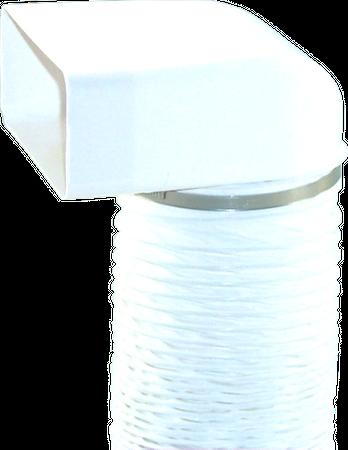150er Abluft-System Umlenkstück mit Flexschlauch rund 1m auf Flachkanal Vierkantrohr Abluftrohr – Bild 2