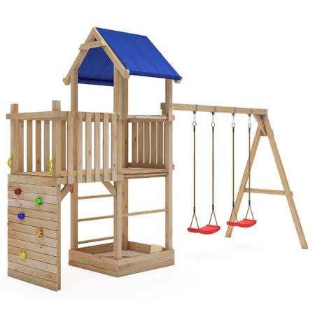 Spieltürme mit Balkon und Schaukel