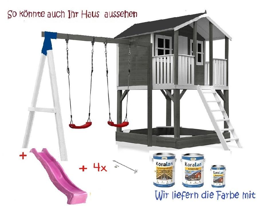 Stelzenhaus Tobi Premium mit Schaukel incl. Farbe – Bild 9