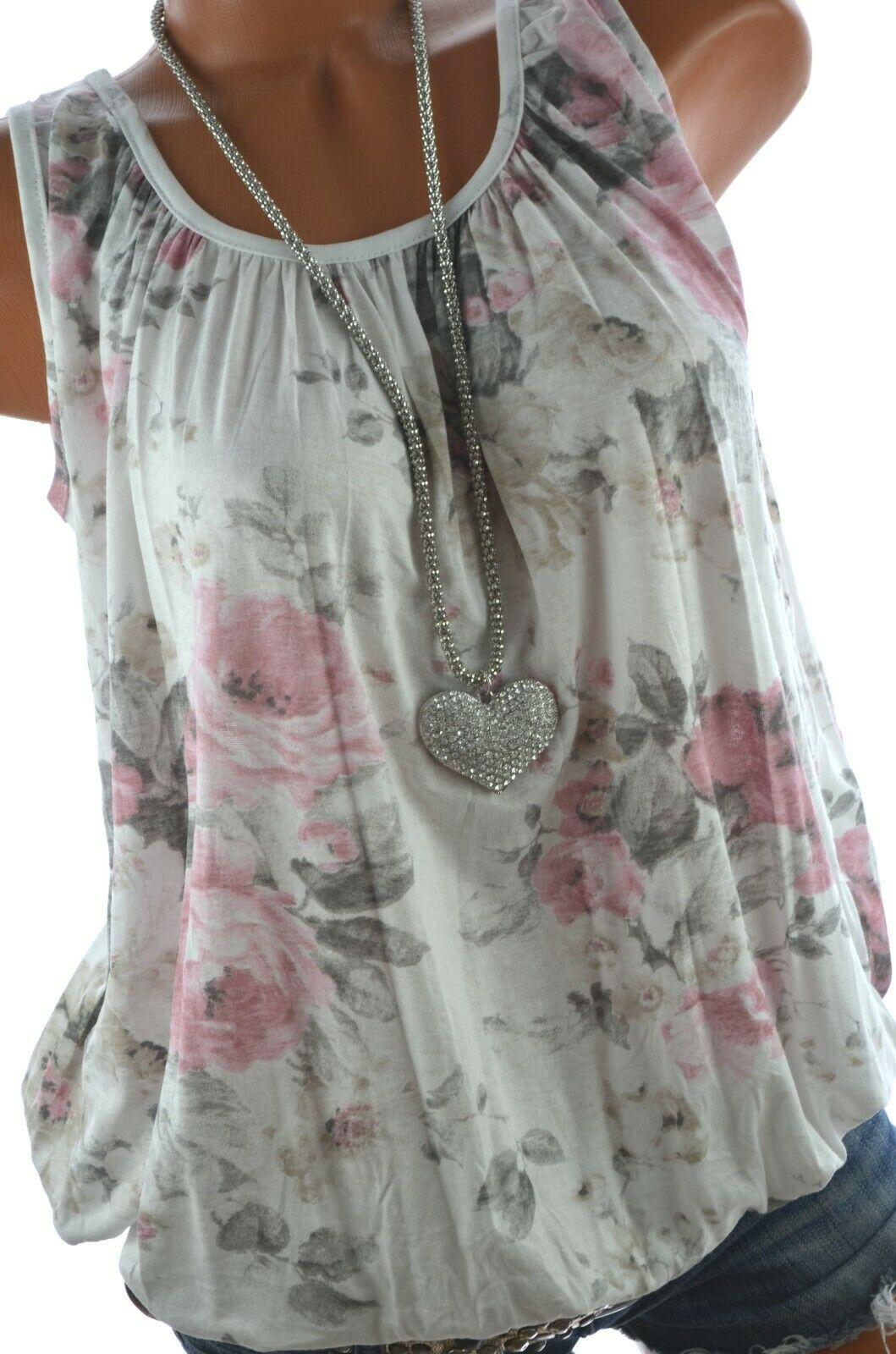 ITALY Sommer TOP Shirt Rosen Print Ballon Bluse 38 40 42 44 NEU