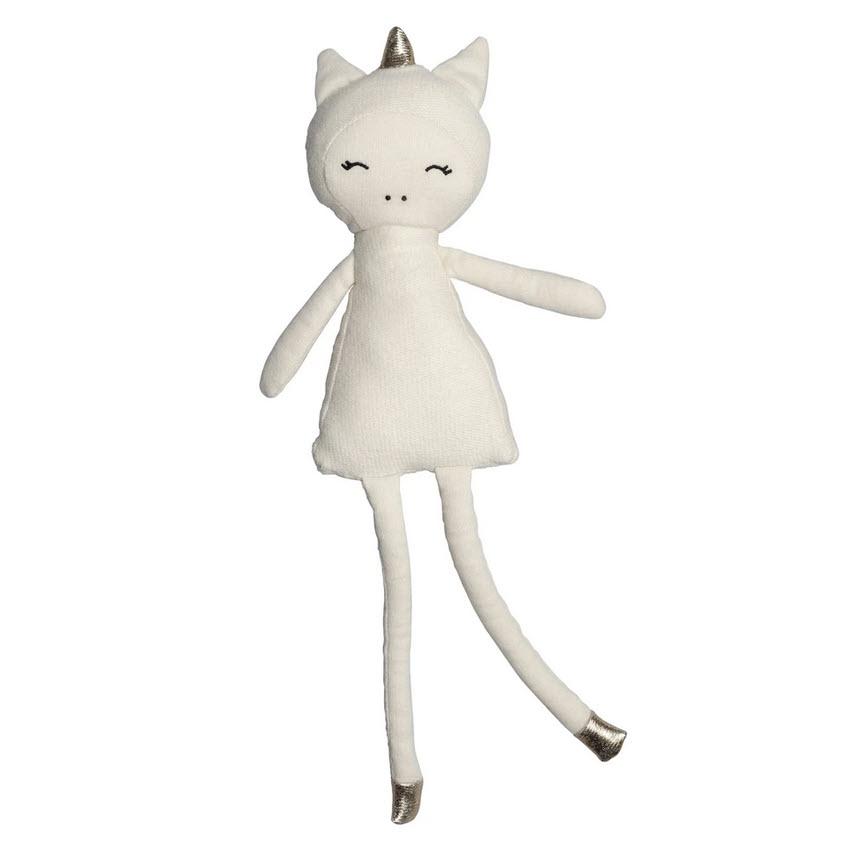 Öko Spielzeug, zauberhafte Puppe Einhorn, Bio Baumwolle, 28 cm, von Fabelab