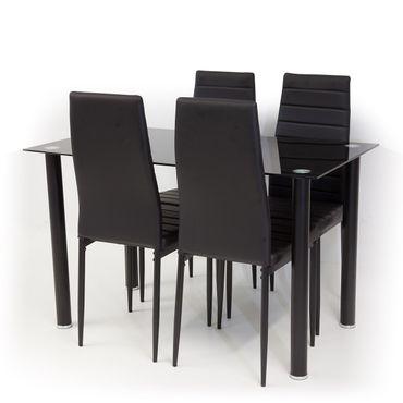 Glastisch schwarzglas  ALBATROS Tischgruppe Glastisch TORINO Schwarzglas mit 4 x Stuhl ...