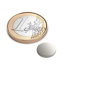 Scheibenmagnet Ø 10x1 mm vernickelt - Neodym – Bild 1