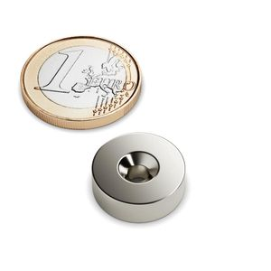 countersunk magnet Ø 16 mm nickel plated – neodymium – Bild 1