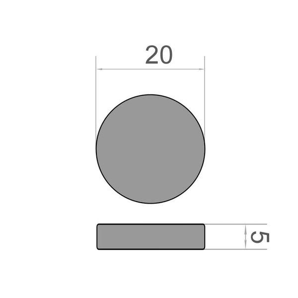 Scheibenmagnet Ø 20x5 mm vernickelt - Neodym – Bild 3