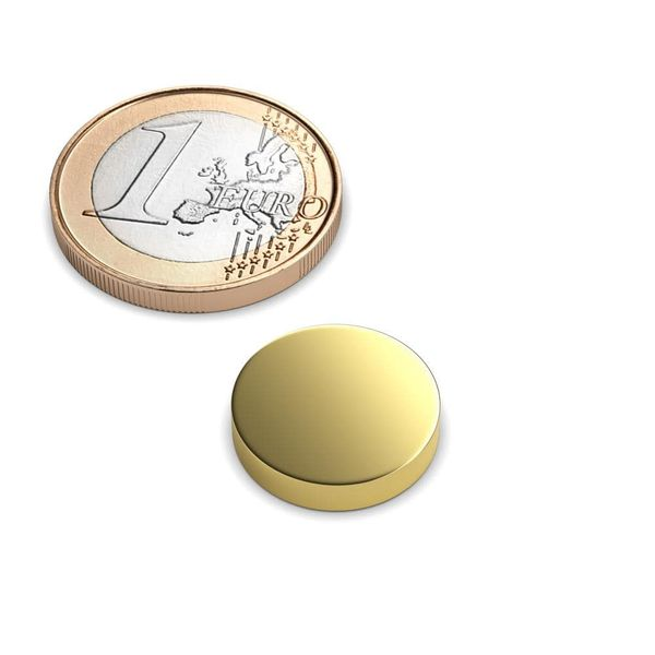 disc magnet Ø 15x3 mm gold plated - neodymium – photo 1