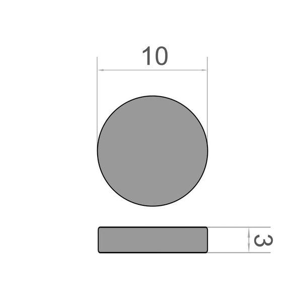 Scheibenmagnet Ø 10x3 mm vernickelt - Neodym – Bild 3