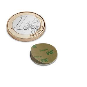 Scheibenmagnet Ø 15x1 mm selbstklebend vernickelt - Neodym – Bild 1