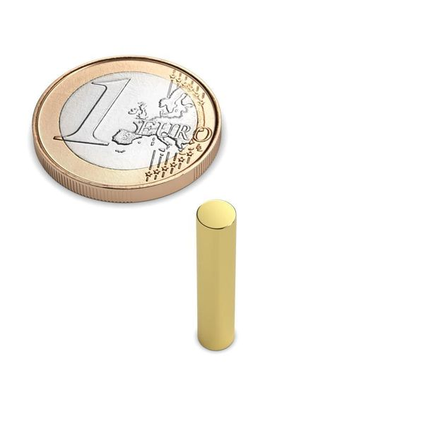 rod magnet Ø 4x20 mm gold plated - neodymium – photo 1
