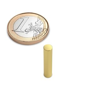 rod magnet Ø 4x20 mm gold plated - neodymium – Bild 1
